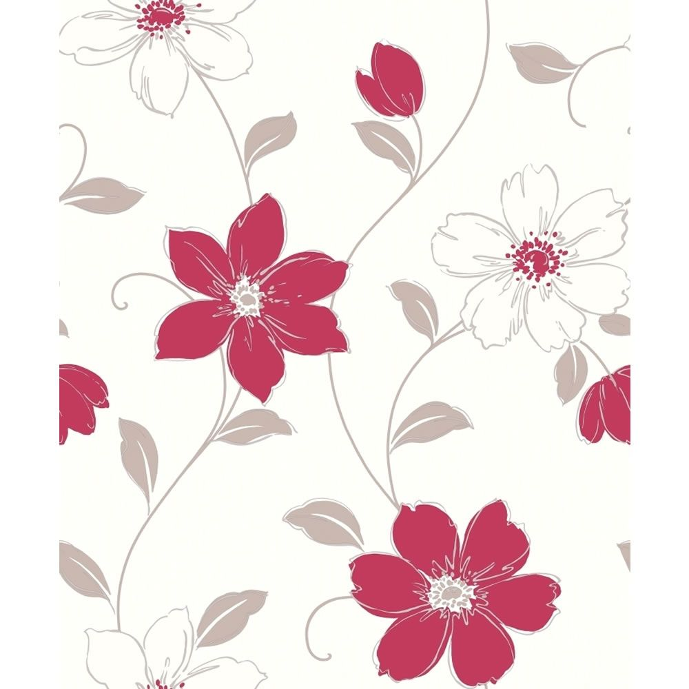 Arthouse opera wallpaper heavy weight textured vinyl anouska red 871104 floral coloured - Teal wallpaper wilkinsons ...