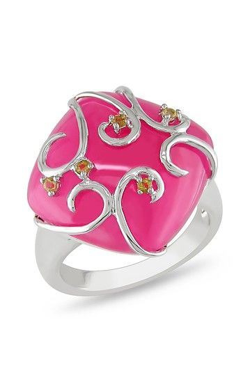 Think Pink: Jewelry Event Sterling Silver Wrapped Synthetic Pink Jade Ring