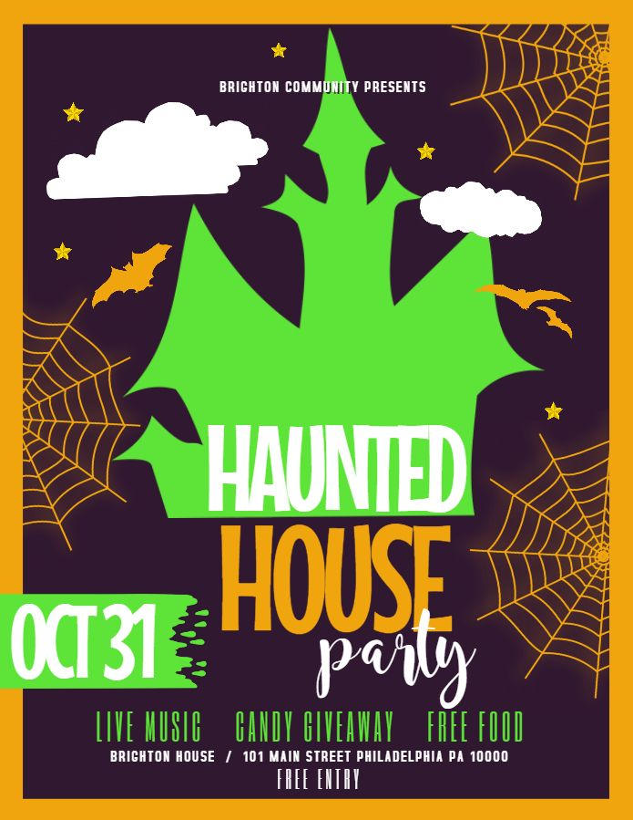 Haunted house party Halloween flyer social media template
