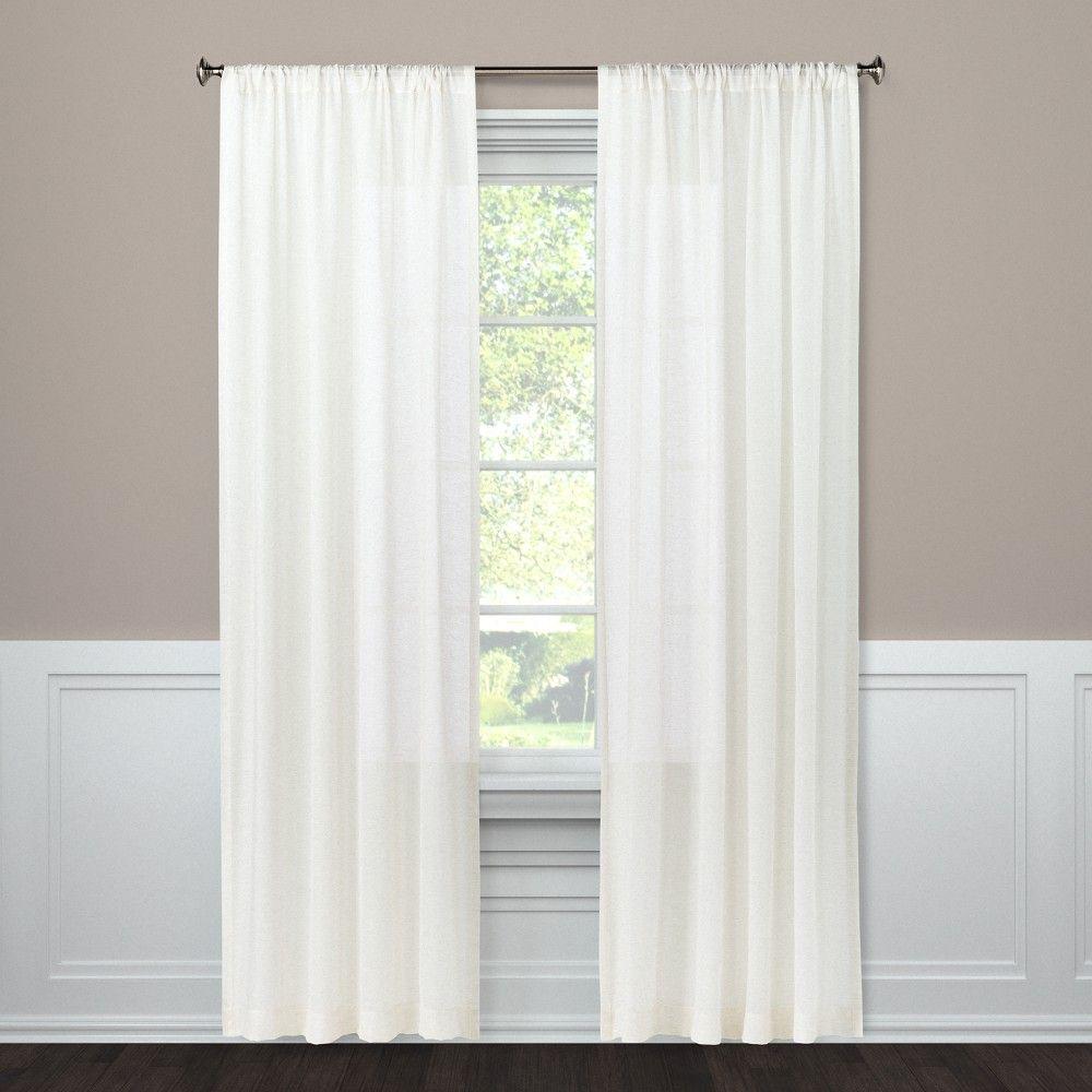 Light Filtering Curtain Panel Natural Linen Look 63 Threshold