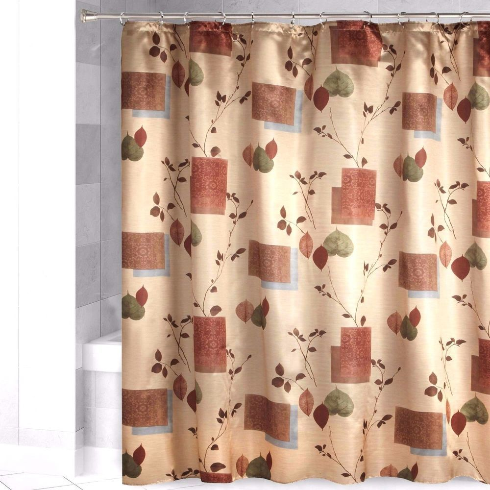 Bacova LODGE LEAVES Fabric Shower Curtain Cabin Gold Faux Satin ...