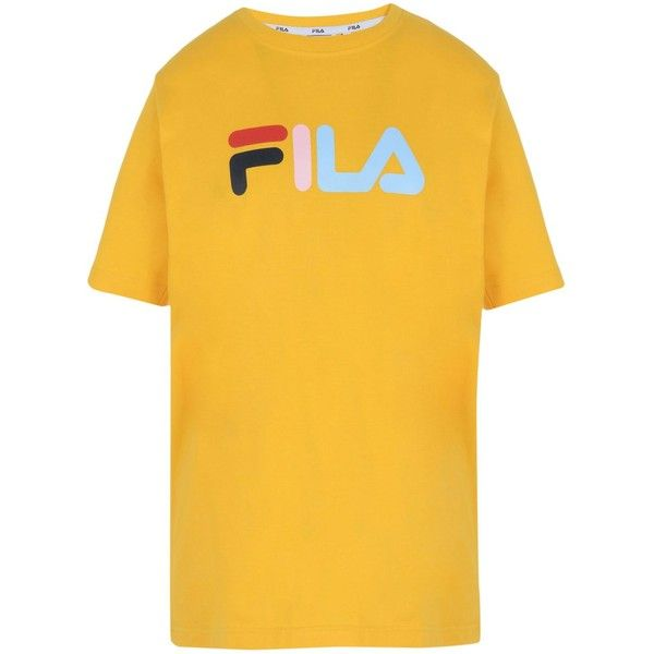 fila yellow top. fila heritage t-shirt (910.540 vnd) ❤ liked on polyvore featuring tops, yellow top