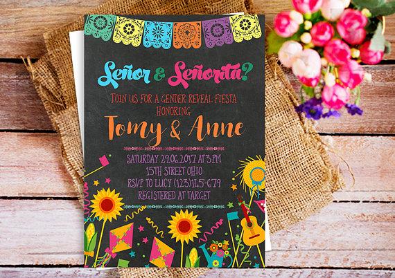 Senor Or Senorita Party Invitation Gender Reveal Fiesta Invitation Gender Neutral Mexican Invitation Gender Reveal Spanish Invitation Gender Reveal Fiesta Invitations Party Invitations