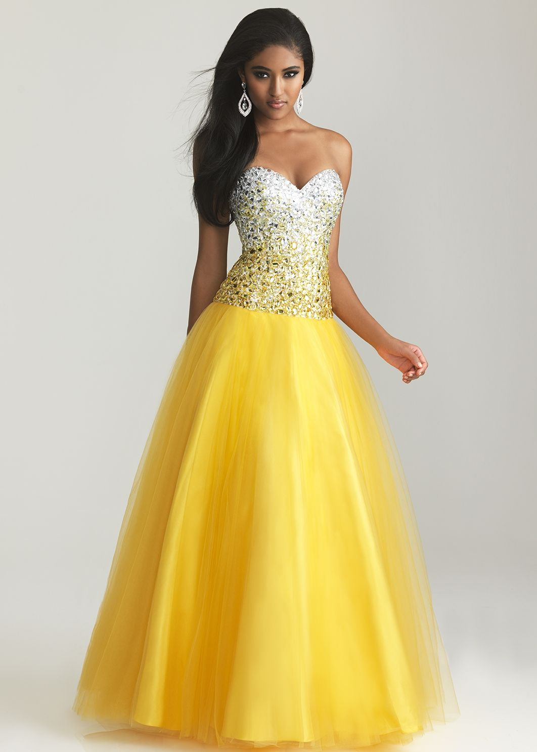 Night moves yellow strapless sweetheart ball gown prom