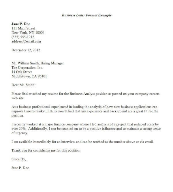 business letter format template