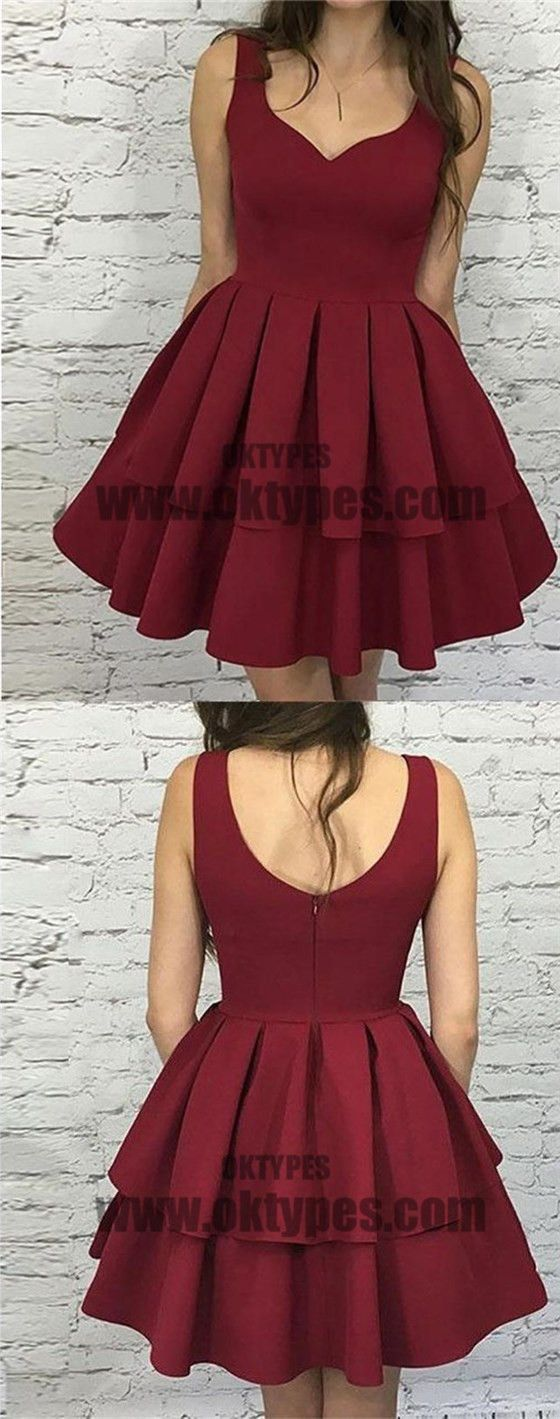 Simple dark red v neck cheap homecoming dresses typ simple