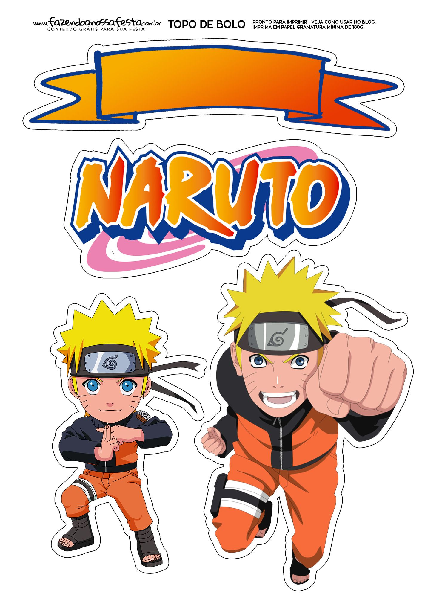 Topo De Bolo Naruto Naruto Naruto Birthday Cupcake Toppers Free