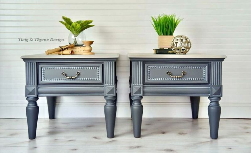 Glazed Queenstown Gray Side Tables Coffee Table End Table Set