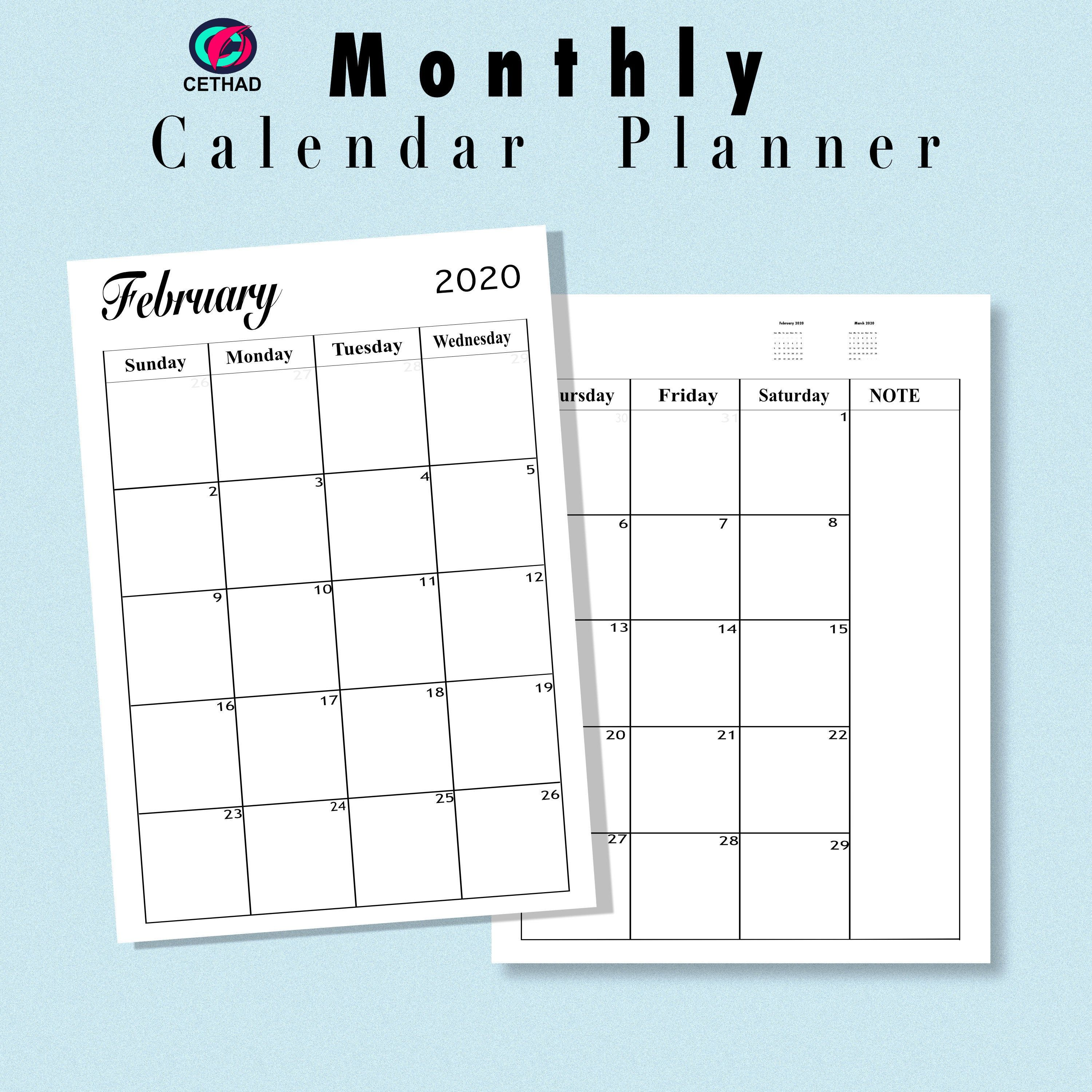 20202021 Monthly Planner Calendar Printable Template