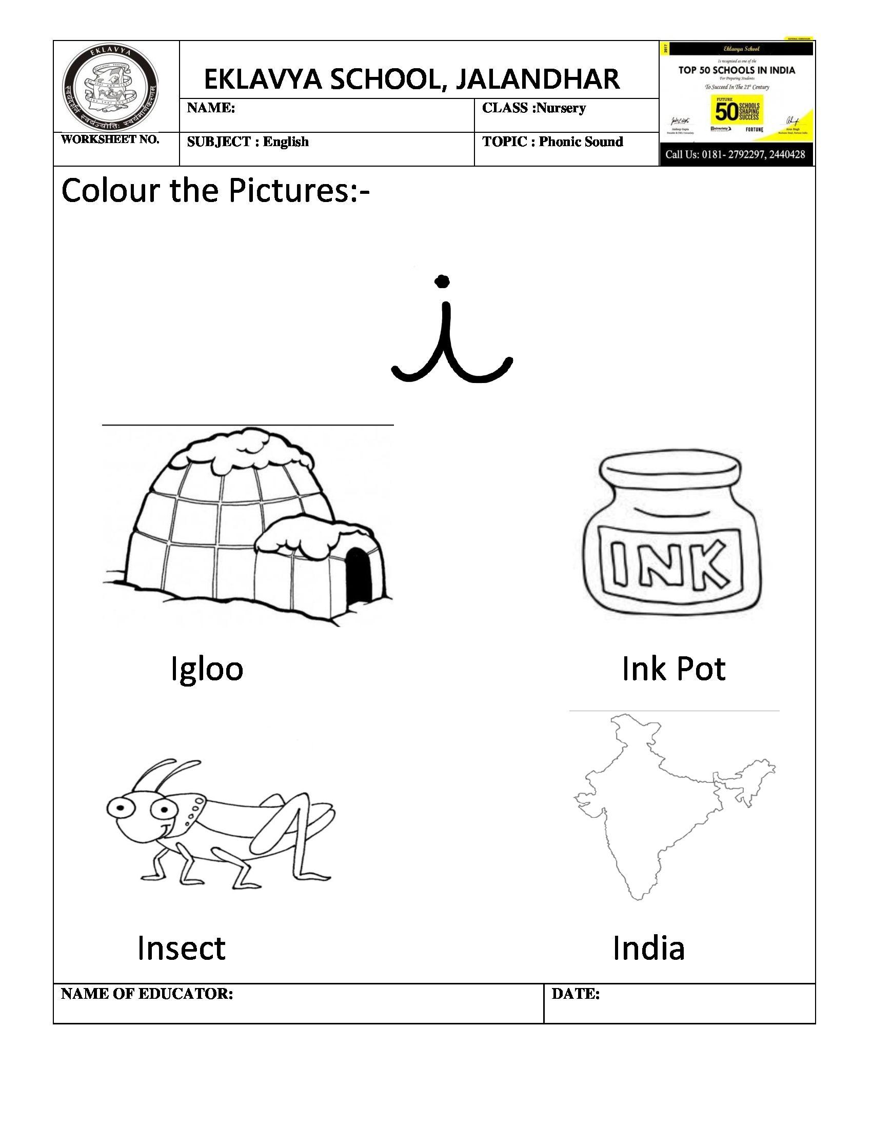 Worksheet on phonic sound \' i \' | Pre- Primary Worksheets ...