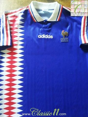 Relive France's 1994/1995 international season with this original Adidas home football shirt.