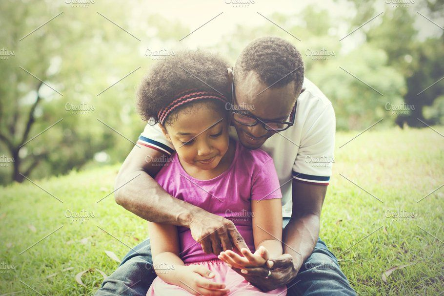 African American family playing together in the outdoor