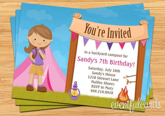 Girls camping birthday party invitation camping party pinterest girls camping birthday party invitation filmwisefo Image collections