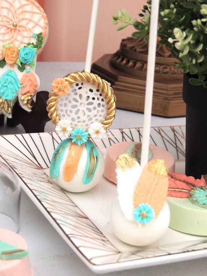 boho cake pops from a boho chic birthday party on karas