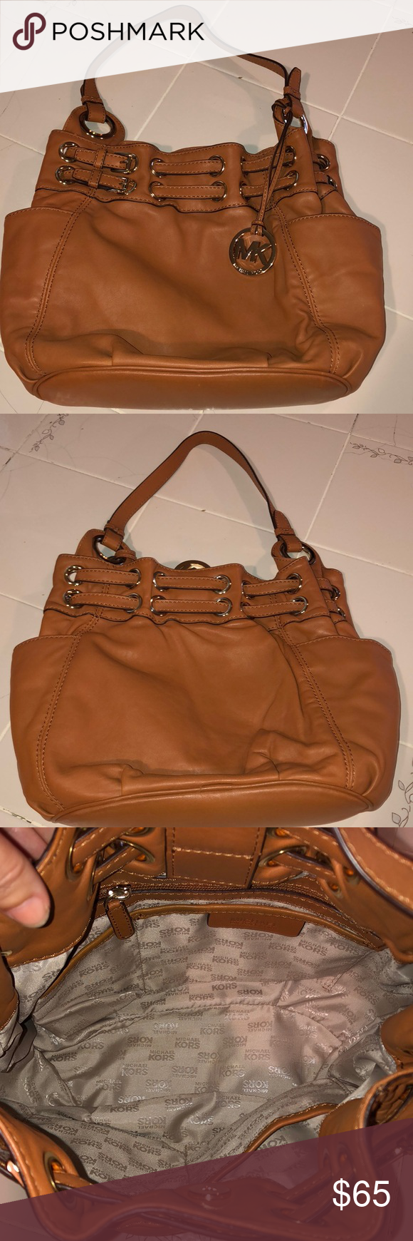e84c680c301 Michael Kors Purse Beautiful butter soft leather Tan color with gold ...