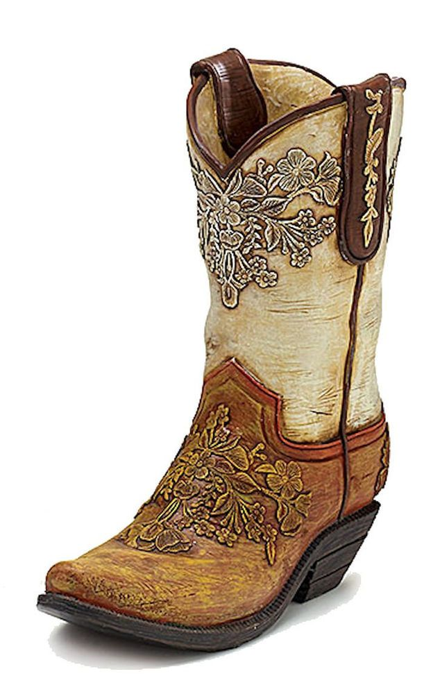 Cowboy Boot Vase Cream & Brown Authentic Looking Resin Western ...