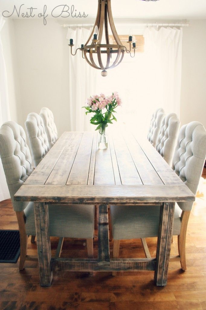 Rustic dining table with tufted Wicker Emporium dining chairs ...