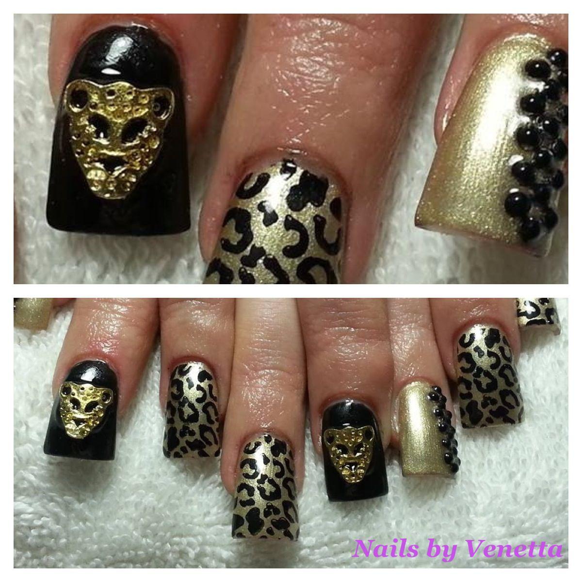 Leopard Black Gold Gel Polish Acrylic Nails 3D Bling Kawaii ...