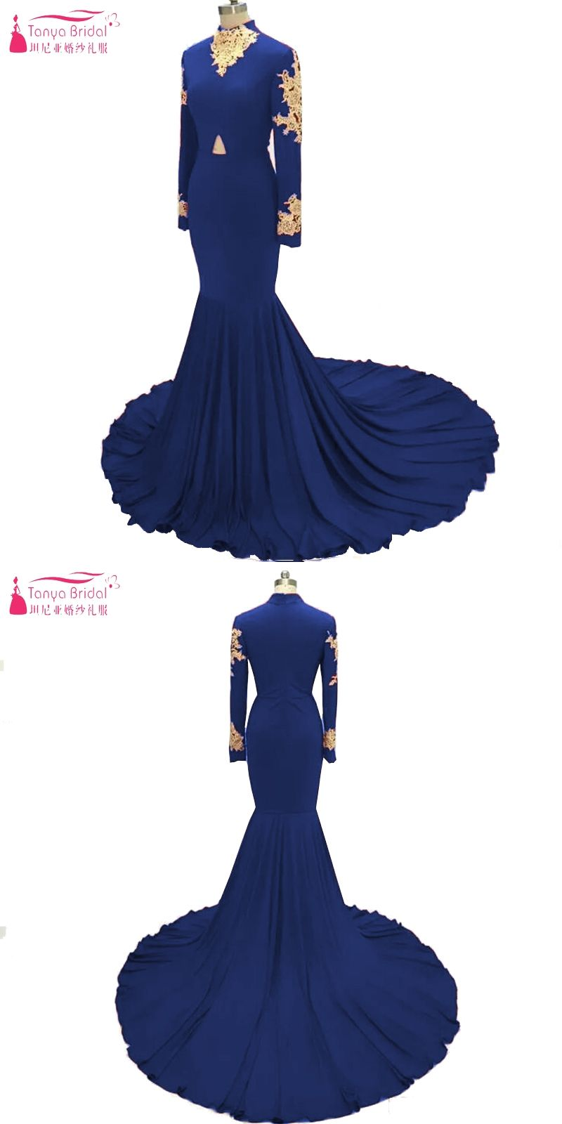 Royal blue african prom dresses long sleeve gold lace appliques high