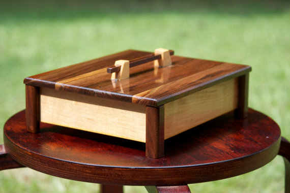 Handmade maple and walnut wooden box for by DocsWoodenCreations