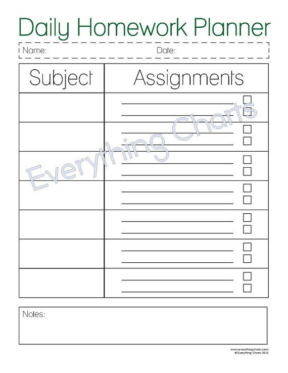 Daily Homework Planner - Pdf File/Printable | Homework Planner