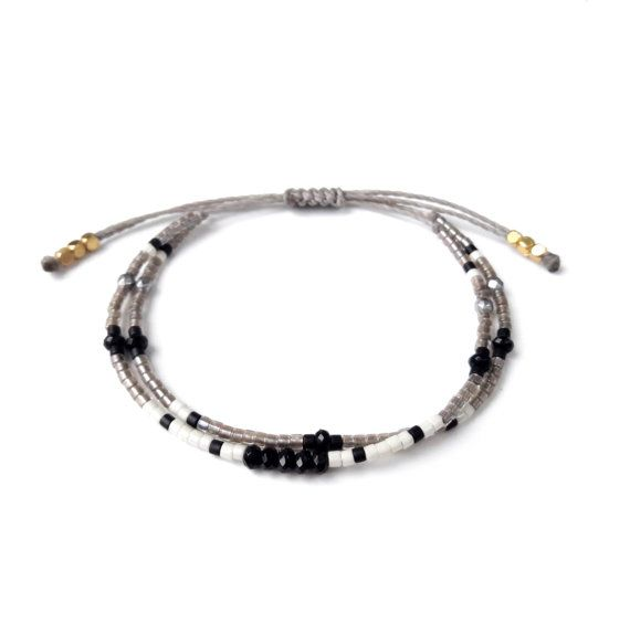 Black Onyx Bracelet bead pyrite bracelet Miyuki delica