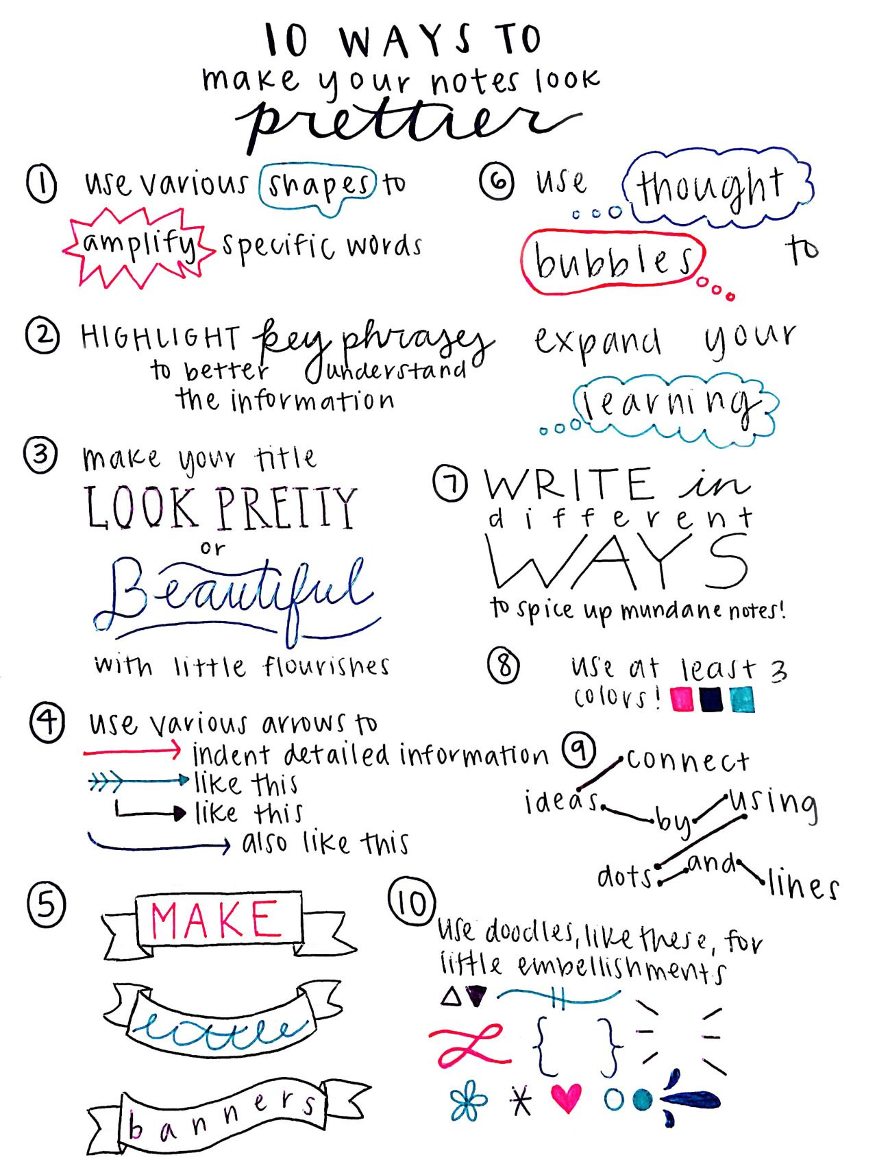 10 ways to make your notes look prettier, a helpful list made by