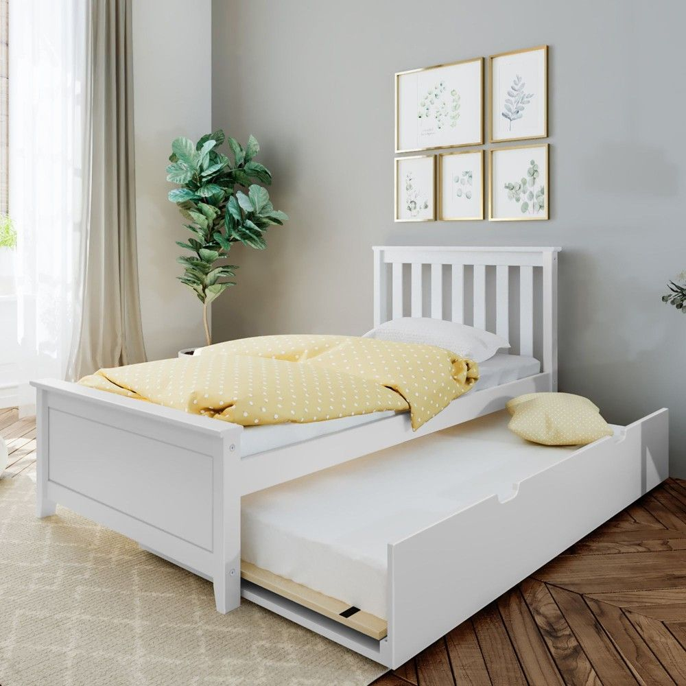 Max Lily Twin Bed With Trundle White Trundle Bed Frame Twin Trundle Bed Solid Wood Platform Bed