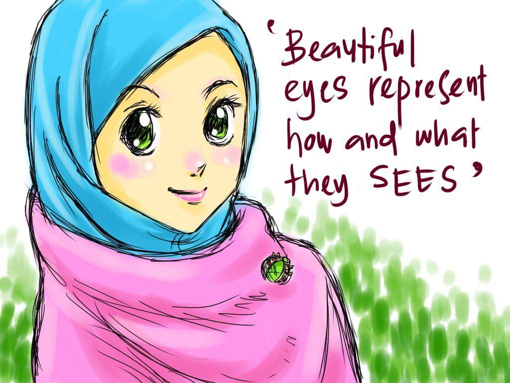 Koleksi Kartun Comel Muslimah Bertudung Kartun, Gambar