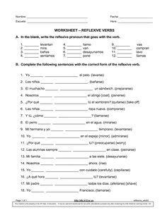 spanish reflexive verbs worksheet enseigner l 39 espagnol spanish worksheets spanish verb. Black Bedroom Furniture Sets. Home Design Ideas