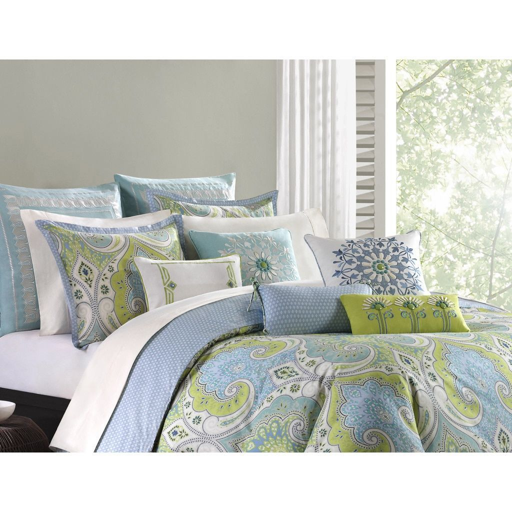 Echo Design Sardinia Green Blue Cotton Duvet Cover Mini Set Modern