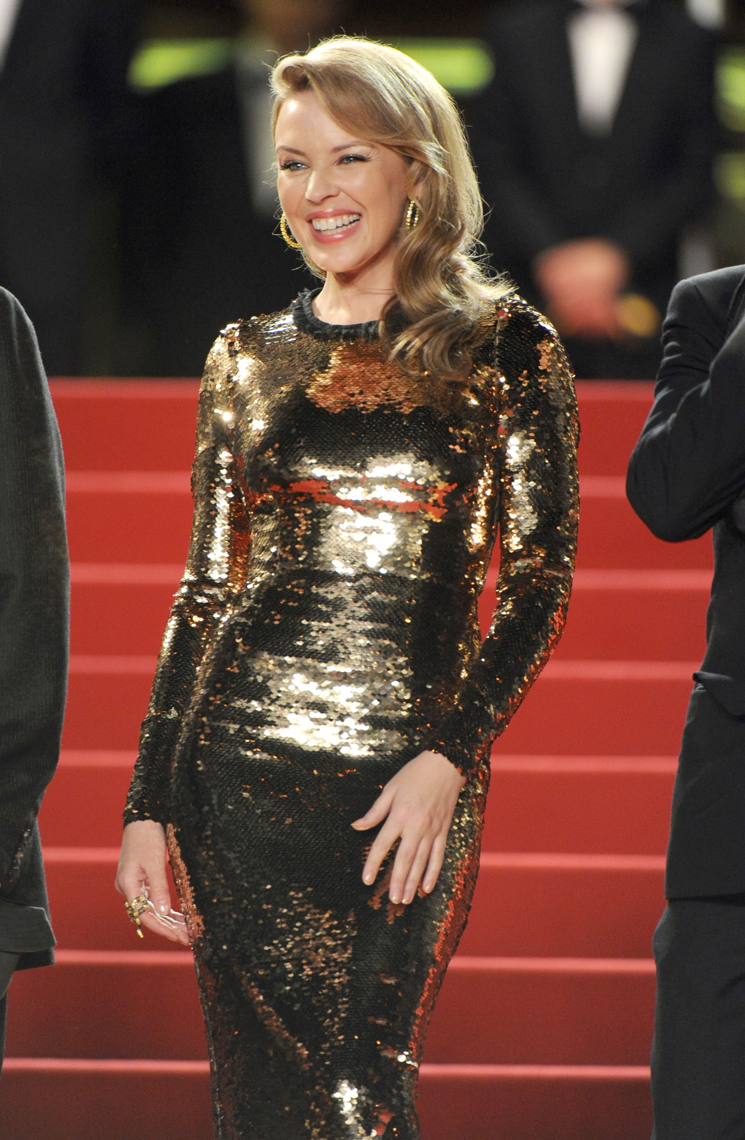 Kylie Minogue dazzles at Holy Motors premiere before dinner date with Andres Velencoso