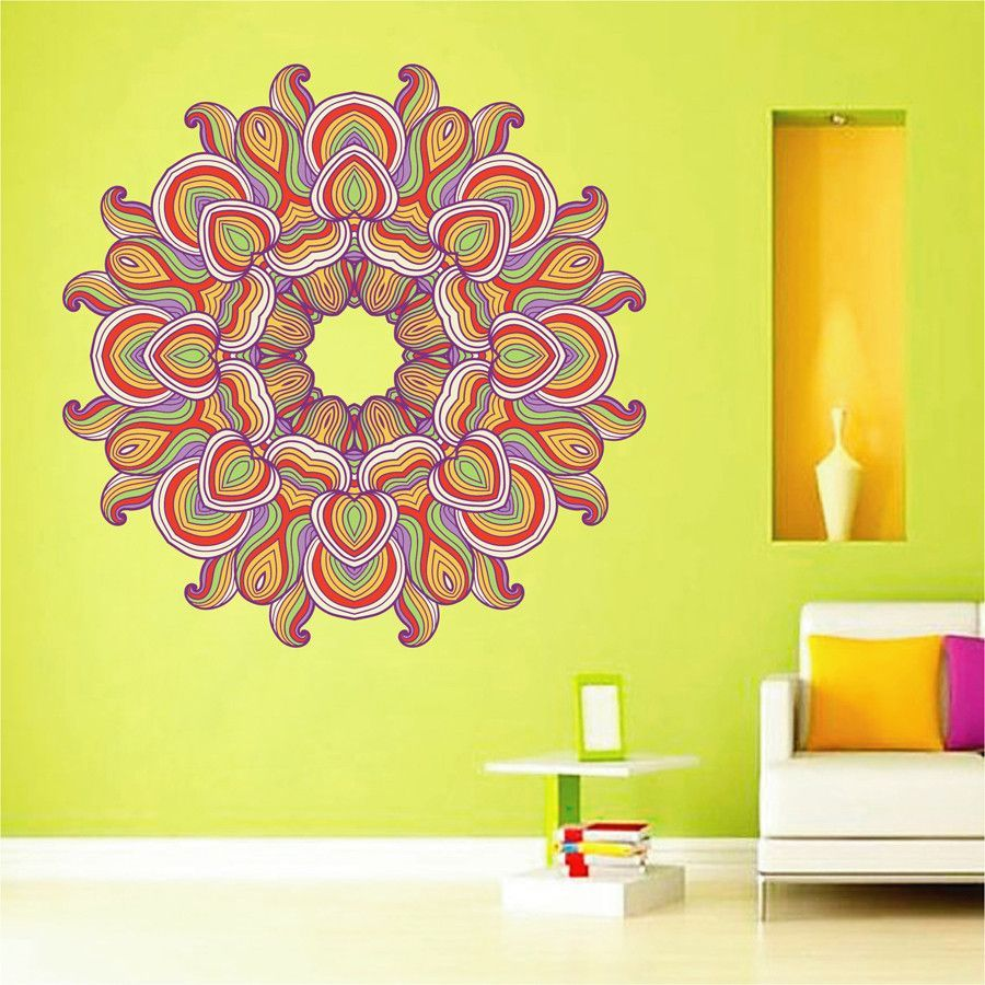 cik1428 Full Color Wall decal beautiful bright colored mandala ...