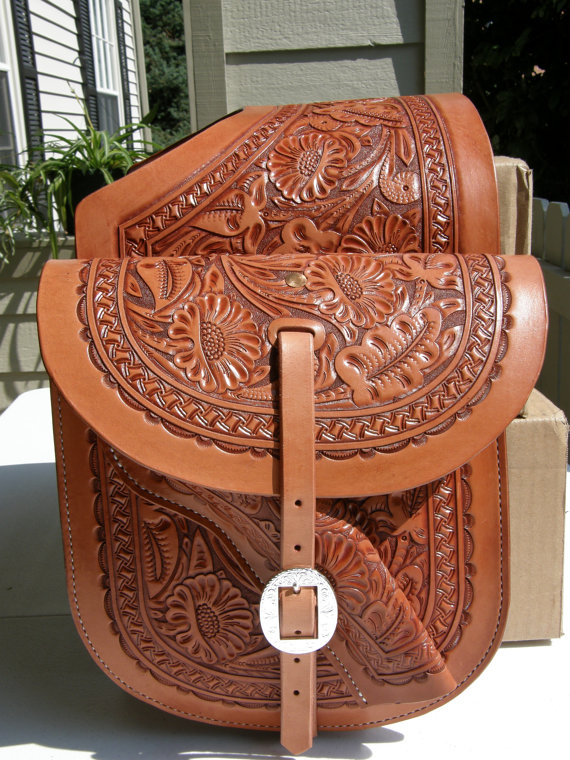 Hand Tooled Western Leather Saddle Bags By Gardnerswork 300 00