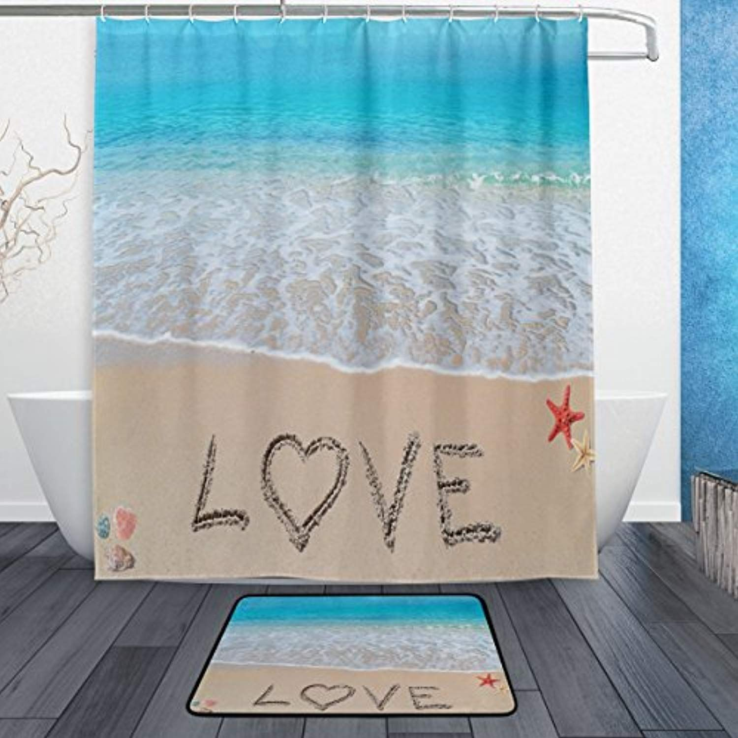 Alaza Set Of 2 Beach Ocean Theme 60 X 72 Inches Shower Curtain And