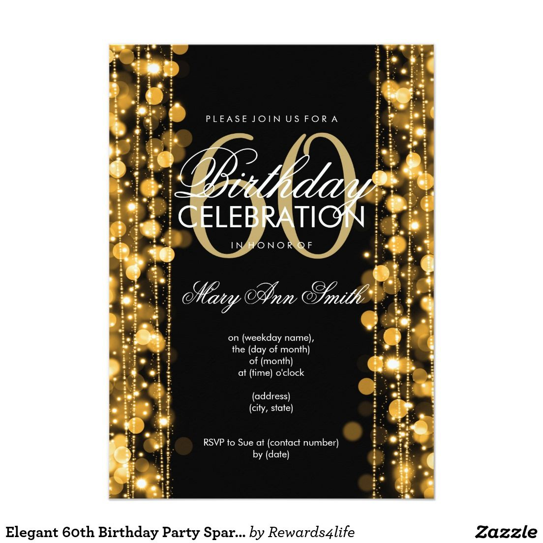 Elegant 60th birthday party sparkles gold invitation milestone elegant 60th birthday party sparkles gold 5x7 paper invitations artwork designed by rewards4lifes gifts filmwisefo