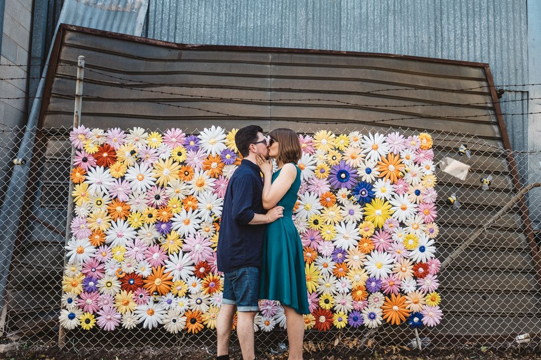 Backdrop made from plastic bags creative diy wedding engagement
