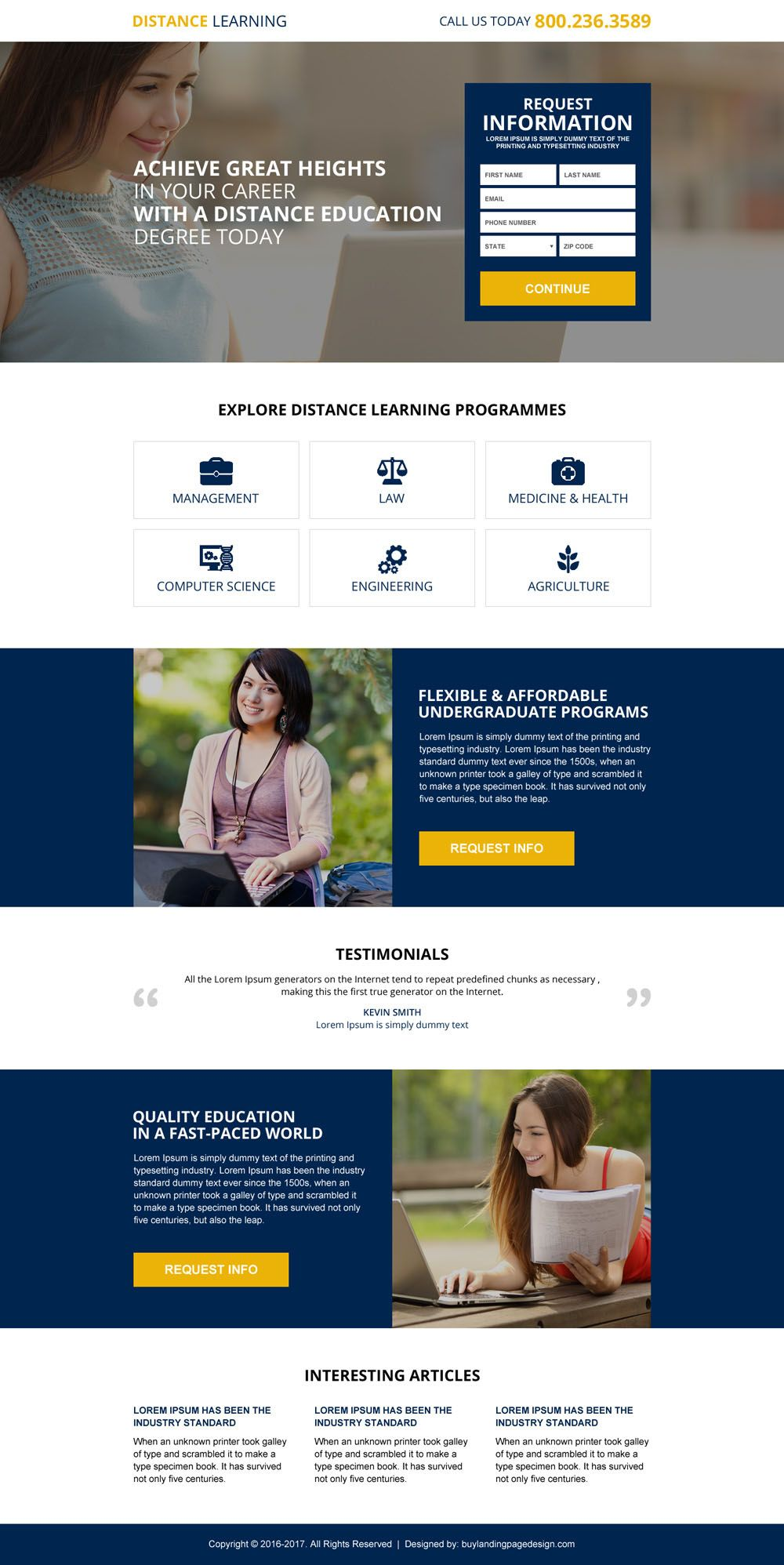 Responsive Distance Learning Information Capturing Landing Page Design Website Template Design Web Development Design Web Design