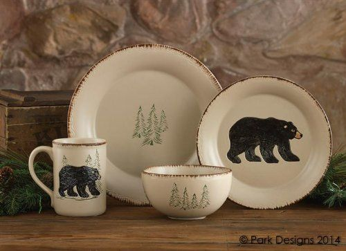 Amazon Com Rustic Retreat Ceramic Dinner Plate Stoneware Cream Pine Trees Country Rustic Cabin