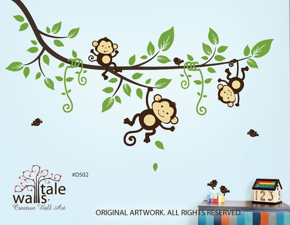 Sale Large Tree Branch With 3 Monkey Wall Decals And 5 Birds For Jungle Theme Via Etsy Wall Decals Monkey Nursery Monkey Room