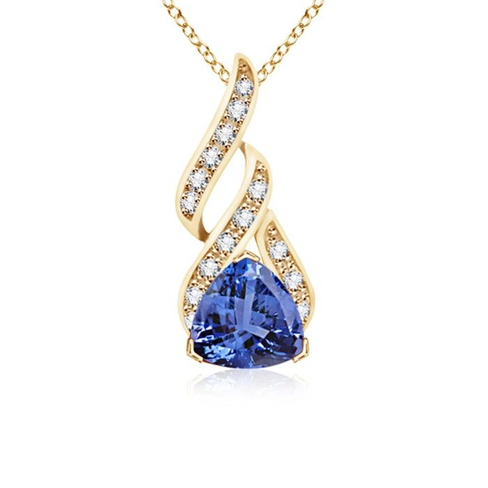 Angara Trillion Tanzanite and Diamond Drop Pendant in 14K Yellow Gold Gc3FL2X