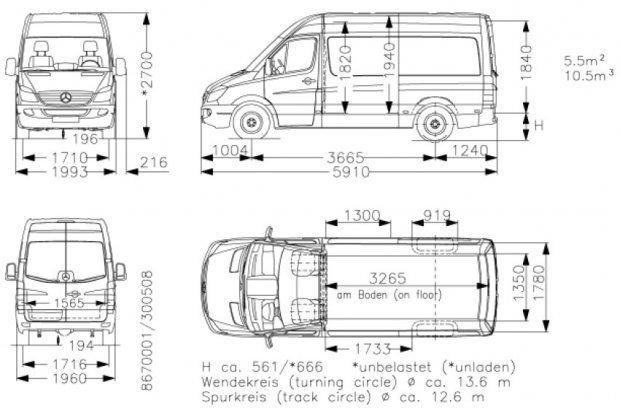 image result for mercedes sprinter van dimensions
