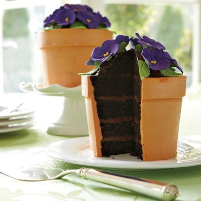 African Violet Flower Pot Cake With Devil S Food Dirt Refreshments