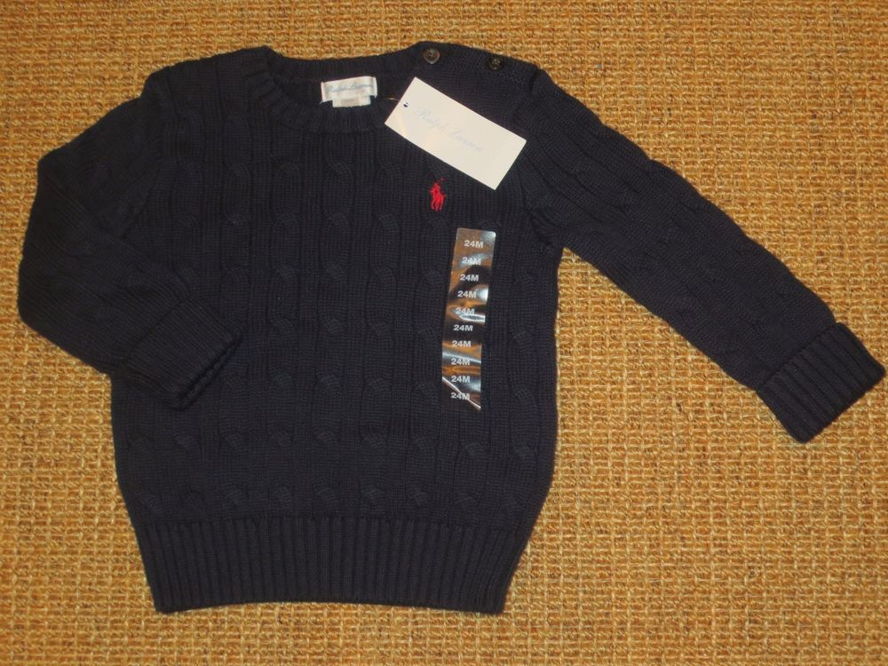 a006781c39ca POLO RALPH LAUREN TODDLER BOY 24 MONTH SWEATER NAVY BLUE POLO PONY NEW   PoloRalphLauren  Pullover