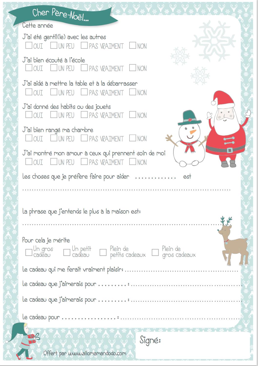 Lettre au père Noël à imprimer ( + Quiz sage/ Pas sage   Pere noel a imprimer, Lettre pere noel ...