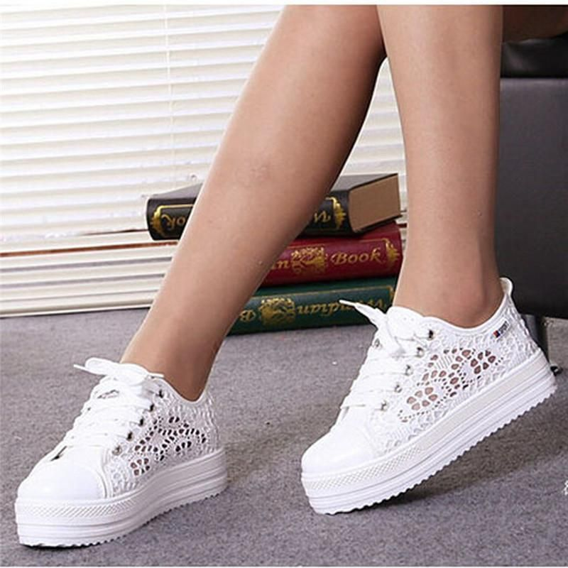 Womens Wedge High Heels Sneakers Strappy Hollow Out Breathable Casual New Shoes