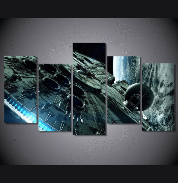 5 Panel Framed Star Wars Millennium Falcon Wall Canvas Octo Treasures Star Wars Canvas Painting Star Wars Painting Starwars Canvas