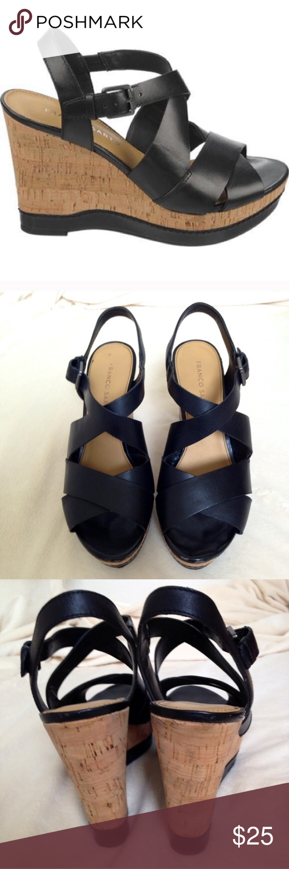 Black sandals at dsw - Franco Sarto Black Wedge Sandals 8 5 Purchased From Dsw Like New Condition Wedge At 4