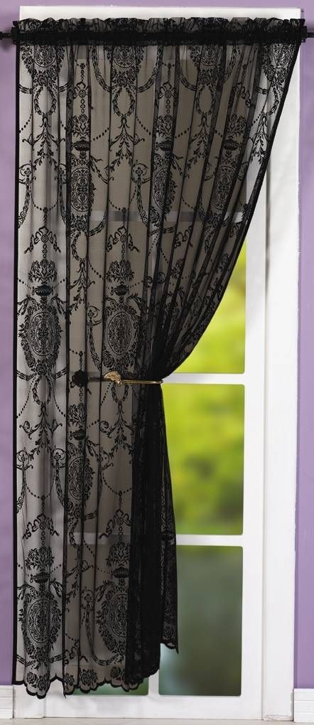 Black Lace Curtains Holly Black Lace Panel Net Curtain 2