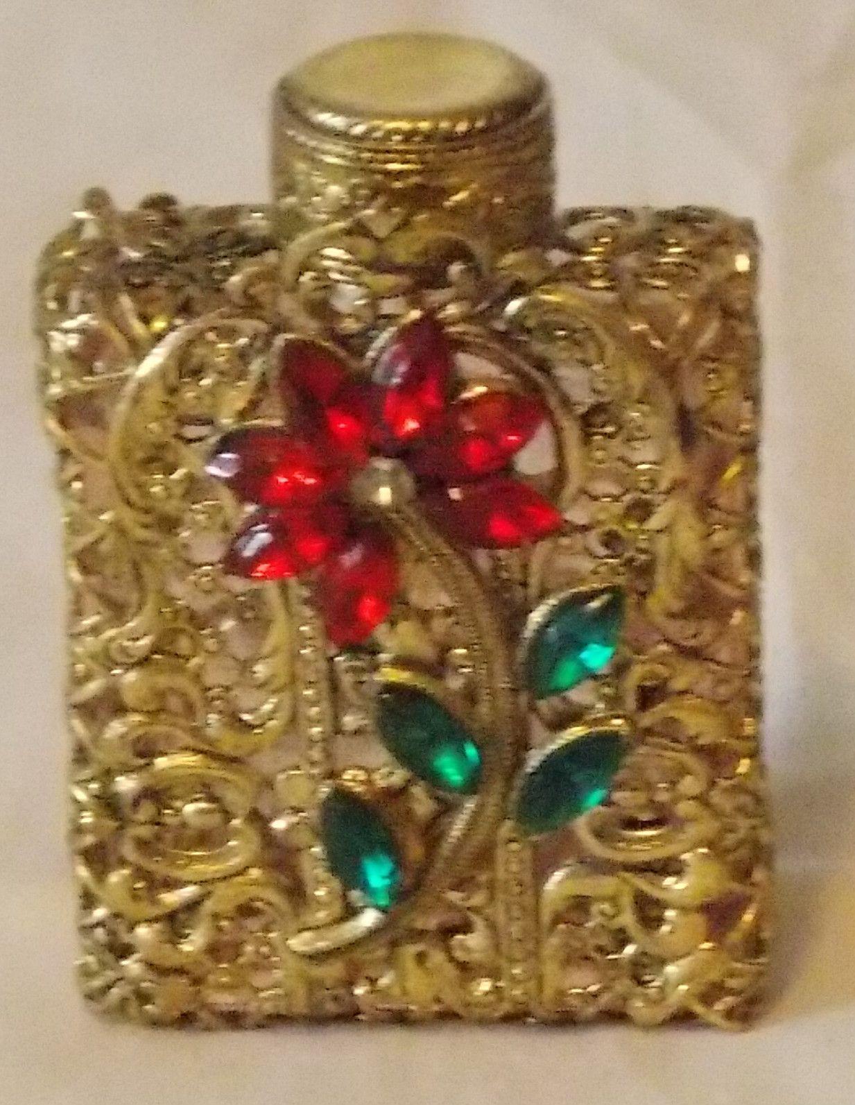 Superb Vintage Czech Miniature Filigree Rhinestones Pink Glass Perfume Bottle | eBay
